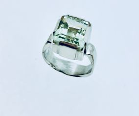 Sterling Silver Ring with Prasiolit